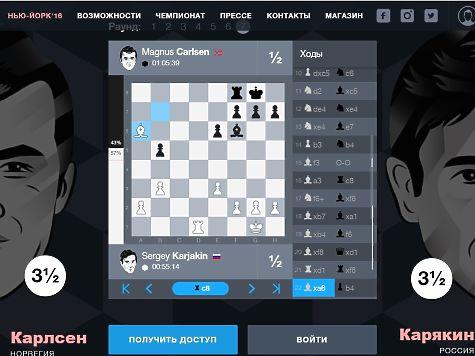 Седьмая партия матча зашахматную корону мира закончилась вничью